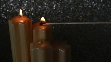Lighting star shape advent candles — Stock Video