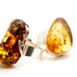 Amber Silver rings — Stock Photo