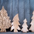 Pine cones and christmas tree figures — Stock Photo