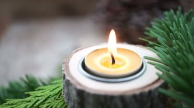 Beewax advent candle — Stock Video