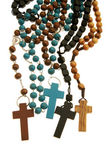 Many different wood rosaries — Stock Photo