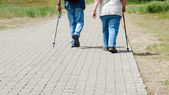 Walking path with elderly people — Stock Photo