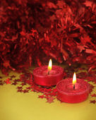Cute red glitter candle — Stock Photo