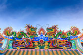 Two dragon on temple roof — Stock Photo