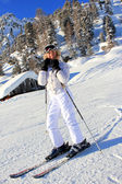 Girl Alpine skiing — Stock Photo