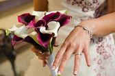 Ring on finger — Stock Photo