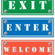 Exit, enter and welcome tags, cardboards for shops — Stock Vector #22522441