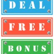 Deal, free and bonus cardboards, tags for shops — Stock Vector