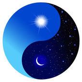 Den a noc v symbolu jin a jang — Stock vektor