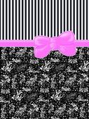 Ribbon, Bow, Damask, Ornaments, Swirls, Stripes - Black White Pink — Stock Photo