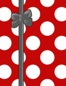Ribbon, Bow, Polka Dots, Spots (Dotted Pattern) - White Red Gray — Stock Photo