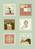 Postcard. Child stamps. illustration — Stock Photo