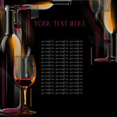 Drinks menu .illustrated wine bottle, cup and — Stock Photo