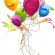 Colorful balloons, decorated with cheerful bouquet - Stock Photo