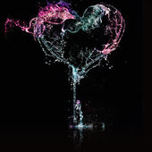 Heart from water splash — Stock Photo