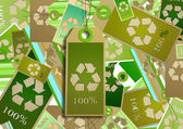 Collage. Card design recycling symbol. — Stock Photo