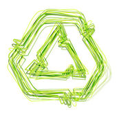 Symbol. recycling, green lines and movement — Stock Photo
