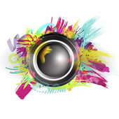 Speaker with splash and explosion shapes and colors — Stock Photo
