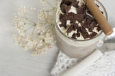 Dessert. chocolate and cream very cold — Stock Photo