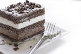 Chocolate cake. musse and chantilly cream — Stock Photo
