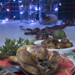 Stock Photo: Christmas roast chicken