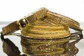 Three elegant gold necklaces for women, — Stock Photo