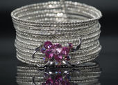 Silver bracelet with pink crystal stones. — Foto Stock