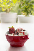 Vanilla ice cream and strawberry in red bowl — Photo