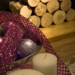 Wood logs and Christmas ornament — Stockfoto