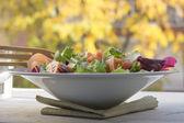 Fresh salad greens, autumn background — Stock Photo