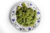 Bowl of cooked green beans, I Isolated — Stock Photo