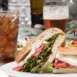 Sandwich and refreshments - Stock Photo