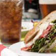 Soda and sandwich — Stock Photo