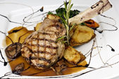 Broiled center cut veal chop — Stock Photo