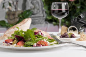 Mediterranean salad served — Stock Photo
