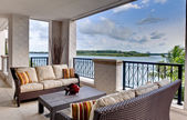 Furnished ocean view terrace — Stock Photo