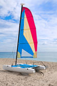 Colorful catamaran in the beach — Foto de Stock