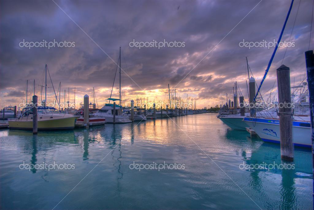 vista de la marina de crandon park en Isla clave biscayne en miami ...
