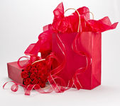 Giftbags and roses — Stock Photo