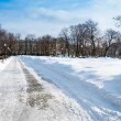 Bolotnaya Square covered in snow in Moscow. - Stock Photo