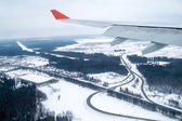 Airplane landing in Moscow — Stock Photo