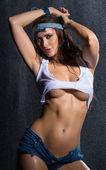 Hot woman with mini dress — Stock Photo