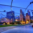 View of jay Pritzker Pavilion and Great Lawn in Millennium Park with Michigan Ave. — Stock Photo