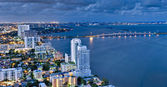 Aerial View of Biscayne Bay at Night — Stock Photo