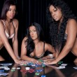 Girls playing poker — Stock Photo