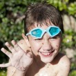 Happy kid in summer with water — Stock Photo