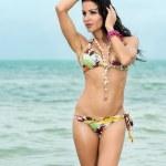 Sexy woman in a bikini knee deep in the sea — Stock Photo #29143357