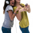 Happy with mp3 player — Stock Photo