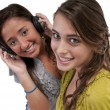 Friends listen music — Foto Stock
