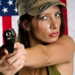Armed woman — Stock Photo